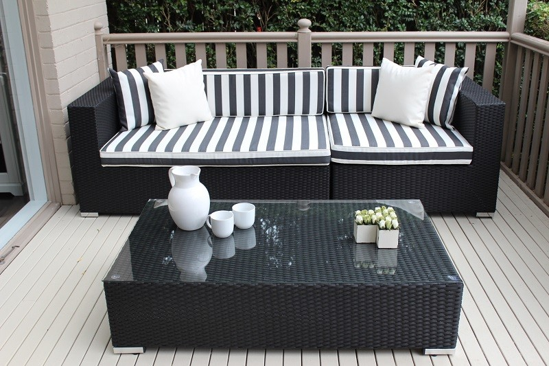 Wicker settings for Black and white striped chaise lounge cushions