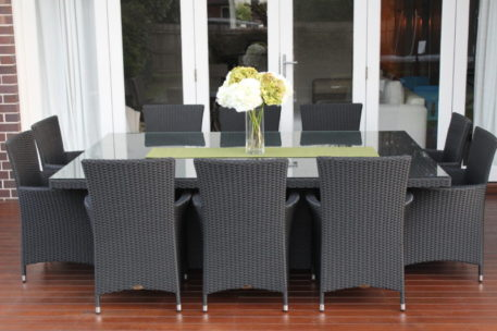 Outdoor Wicker Dining Patio setting 10 seater, Charcoal colour