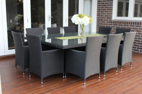 Outdoor Wicker Dining Patio Setting 10 seater Charcoal Hazelnut with charcoal fabric