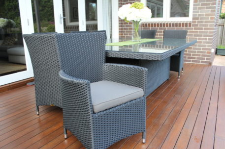 Outdoor Wicker Patio Setting, 10 seats, Charcoal Hazelnut with charcoal fabric