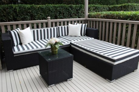 5 seater chaise outdoor wicker lounge setting black with black and white stripes