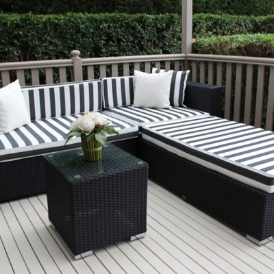 Black wicker with black and white stripes