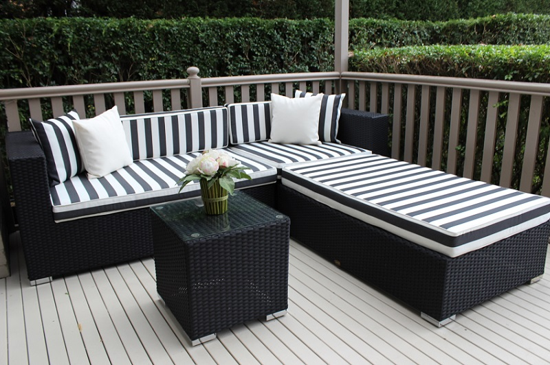 Outdoor wicker settings direct to the public from for Belmont black wicker patio chaise lounge