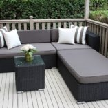 Black wicker with charcoal cushions