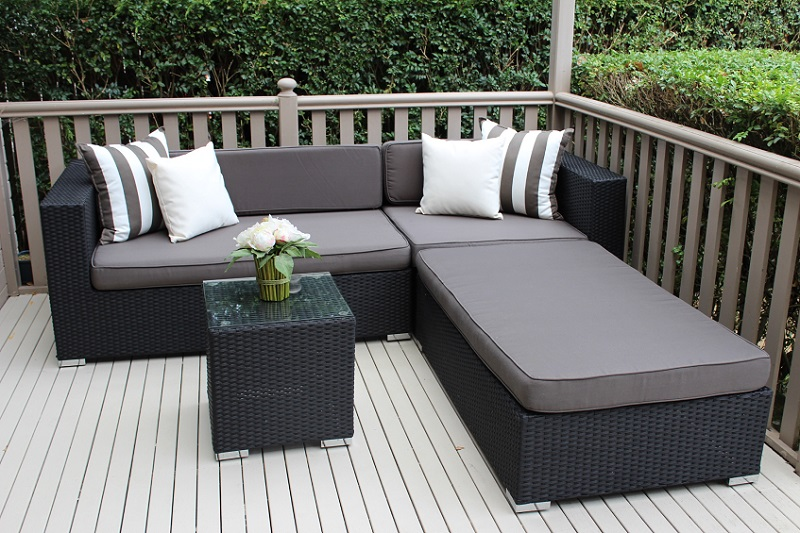 5 Seater Chaise Wicker Lounge Setting Black with Charcoal Fabric Cushions