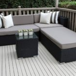 Black wicker with grey brown cushions