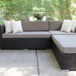 Charcoal wicker with grey brown cushions