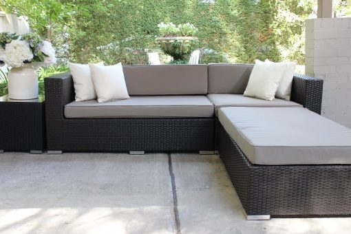 5 Seater Chaise Outdoor Lounge setting Charcoal with Grey Brown Fabric