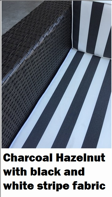 Charcoal Hazelnut wicker with b/w stripe fabric Outdoor Wicker Sofa Setting