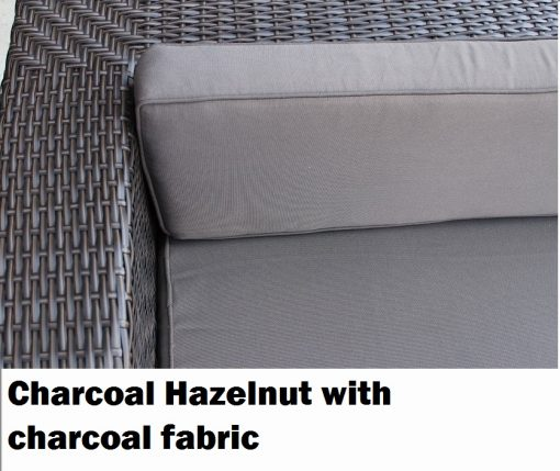 Charcoal Hazelnut Wicker with charcoal fabric Outdoor Wicker Sofa