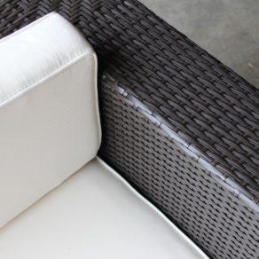 Gartemoebe Wicker Outdoor Furniture Charcoal Hazelnut with Cream Fabric Cushions