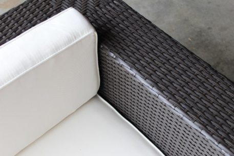 Gartemoebe Wicker Outdoor Furniture Charcoal Hazelnut with Cream Fabric Cushions