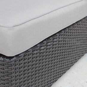 Gartemoebe Wicker Outdoor Furniture Charcoal Hazelnut with Grey Brown Cushions Fabric