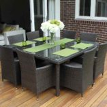8 Seater Square Wicker Dining Setting, Charcoal Hazelnut with charcoal fabric