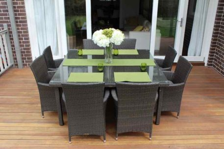 8 Seat Square Outdoor Wicker Dining setting