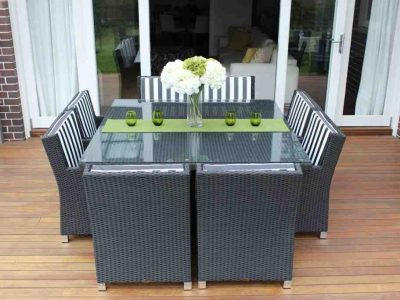 Royale 8 Seat Outdoor Wicker Setting, Licorice Black with b/w stripe fabric