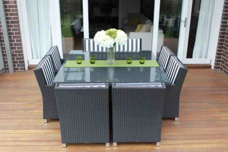 Royale 8 Seat Outdoor Wicker Setting, Charcoal Hazelnut with b/w stripe fabric