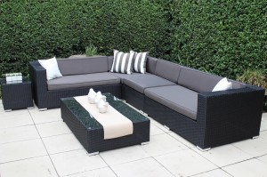 L shape Black wicker with charcoal cushions