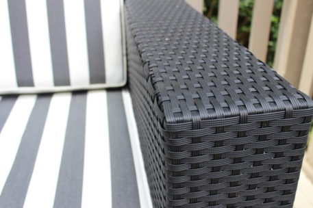 Gartemoebe Wicker Outdoor Furniture Black Wicker with Black and White Stripe Fabric Cushions