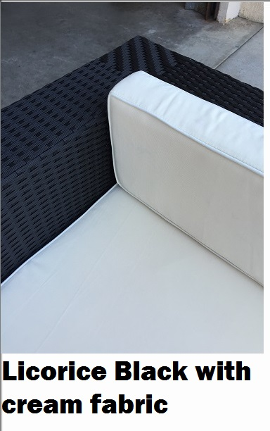 Licorice Black wicker with cream fabric outdoor patio setting sofa