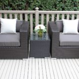 Charcoal wicker with charcoal cushions