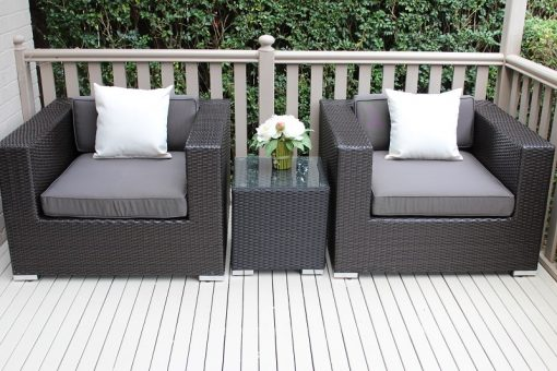 Armchair Set Charcoal Wicker with Charcoal Cushions Fabric