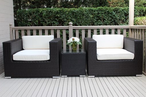 Outdoor Wicker Armchair Set Charcoal with Cream Fabric Cushions