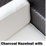 Charcoal wicker with cream fabric Outdoor Wicker Sofa