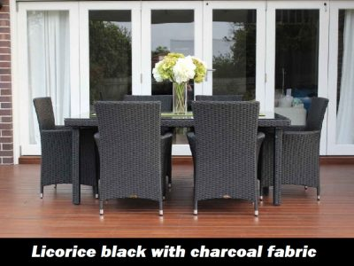 6 Seater Outdoor Wicker Dining Setting, Charcoal Hazelnut with charcoal fabric