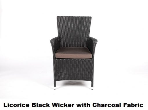 Charcoal wicker with charcoal fabric cover