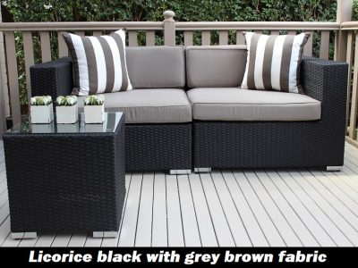 Gartemoebe 2 Seater Wicker Outdoor Furniture Setting, licorice black with grey brown fabric