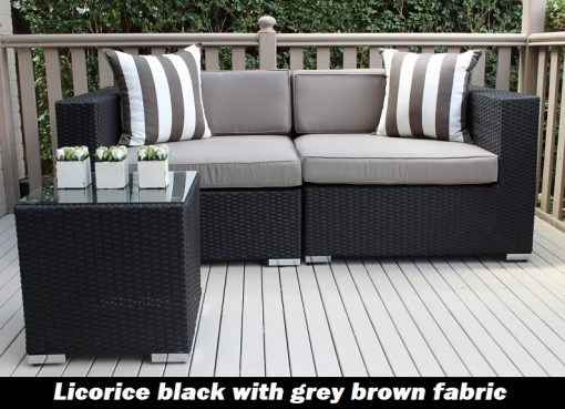 1 Gartemoebe 2 Seater Wicker Outdoor Furniture Setting, licorice black with grey brown fabric