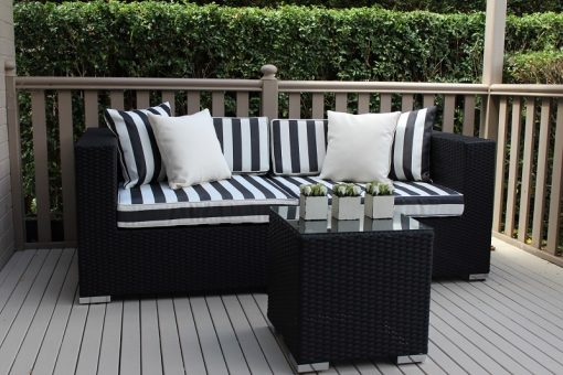 Gartemoebe 2 Seater Wicker Outdoor Furniture Setting, BW Stripes