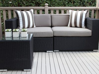 Gartemoebe 2 Seater Wicker Outdoor Furniture Setting, Grey Brown