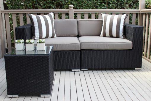 Gartemoebe 2 seater wicker outdoor furniture setting, grey brown