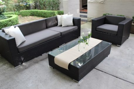 Rattan Outdoor Furniture Setting 3 Seater and Armchair, Charcoal with Charcoal Fabric Cushions