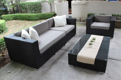 Rattan Outdoor Furniture Setting,3 seater and armchair, charcoal wicker with grey brown fabric