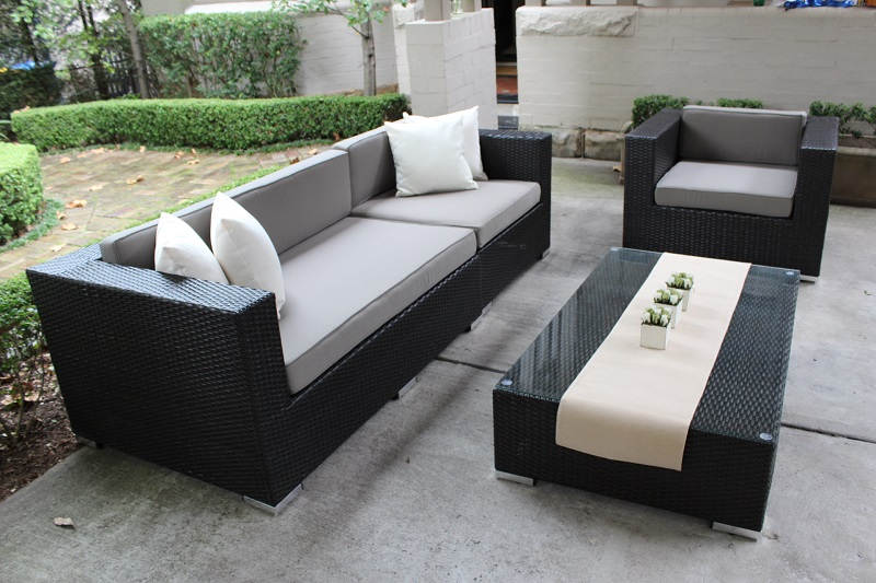 Rattan Outdoor Furniture Setting 3 Seater and Armchair, Charcoal Wicker with Grey Brown Fabric