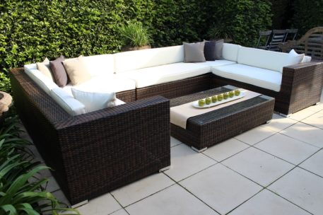 Grand Wicker Lounge Outdoor Setting Two Tone Chocolate Wicker with Cream Cushions