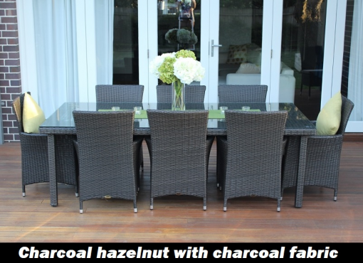 Gartemoebe 8 Seater Outdoor Dining Setting Charcoal Hazenut with charcoal fabric