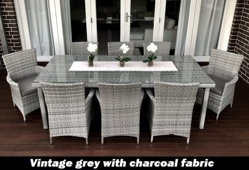 Gartemoebe 8 Seater Outdoor Dining Setting vintage grey with charcoal fabric
