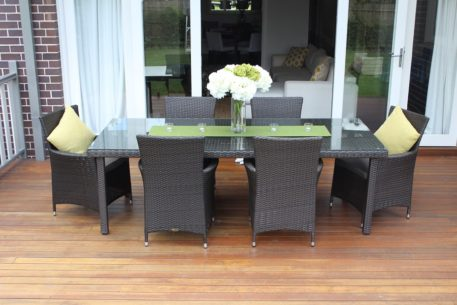 Featured Gartemoebe 6 Seater Charcoal Hazelnut Outdoor Dining Setting