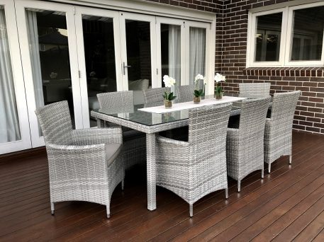 Gartemoebe 8 seater outdoor dining setting Vintage Grey,light grey fabric