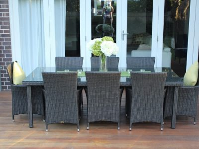 Gartemoebe 8 Seater Outdoor Dining Setting Charcoal Hazenut