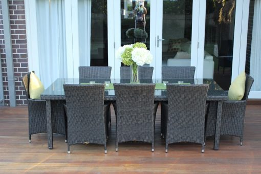 Gartemoebe 8 Seater Outdoor Dining Setting Chatcoal Hazenut