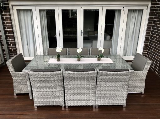 Royal 8 Seater Oblong Dining Vintage Grey set