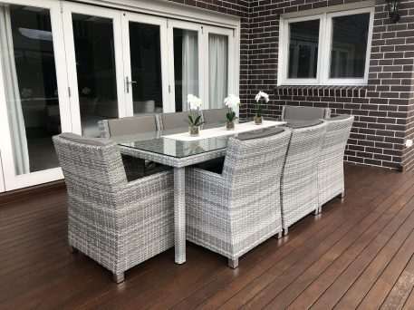 Royal 8 Seater Oblong Dining Vintage Grey set with grey brown fabric