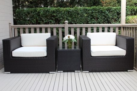 Armchair Patio Setting Charcoal with Cream Fabric