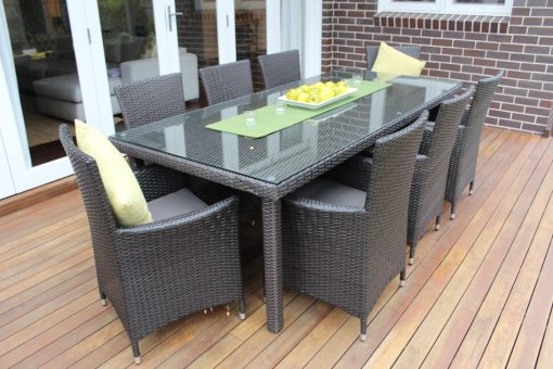 Gartemoebe 8 Seater Wicker Dining Setting Charcoal Hazenut