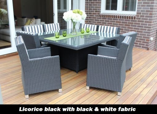 Royale 8 Seat Outdoor Wicker Licorice Black with black and white stripe fabric